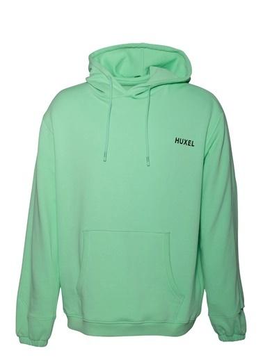 Huxel MUH001202 Sırt Baskılı Hoodie Yeşil